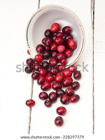 Cranberries in a bowl on wooden boards - stock photo