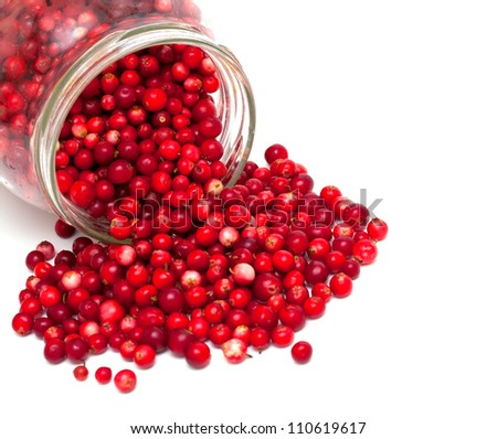 cranberries in a glass jar