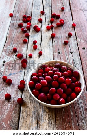 Cranberries in ceramic bowl on rustic wooden background. Selective focus - stock photo