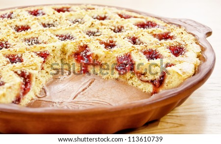 cranberries pie - stock photo