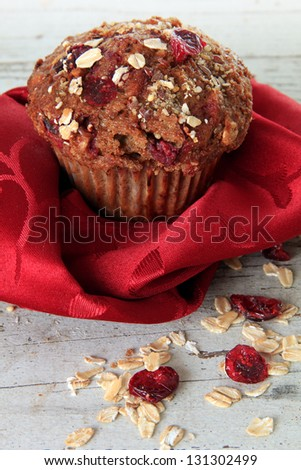 Cranberry bran muffin. Also available in horizontal. - stock photo