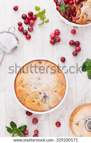 Cranberry Cakes. Different  cranberry cakes with fresh cranberries, top view     - stock photo