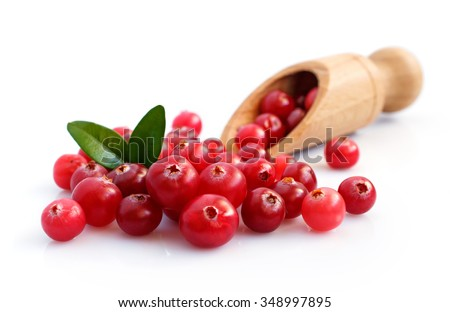 Cranberry close-up isolated over white - stock photo