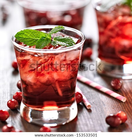 cranberry cocktail with mint garnish. - stock photo