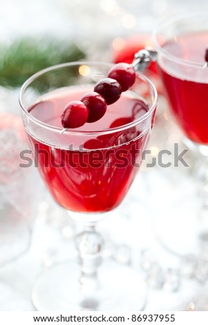 cranberry drink for Christmas.Soft focus - stock photo