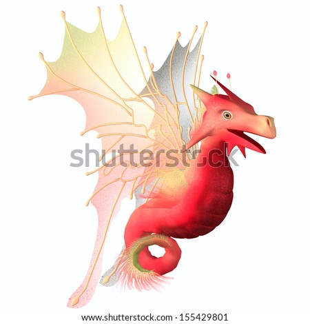 Cranberry Faerie Dragon - A creature of myth and fantasy the dragon is a friendly animal with horns and wings. - stock photo