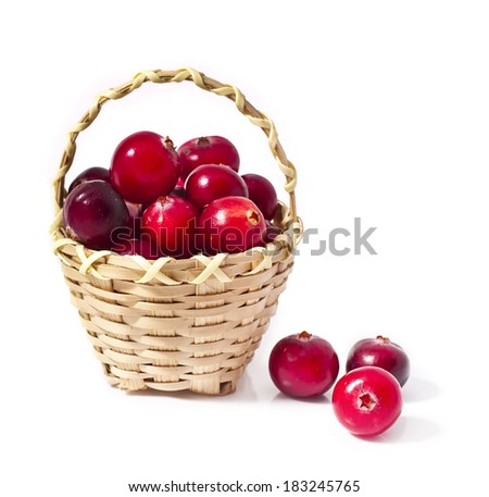 Cranberry in the basket isolated on white background  - stock photo