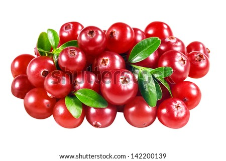 cranberry isolated on white. With clipping path - stock photo