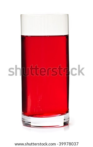 Cranberry juice in clear glass isolated on white background - stock photo