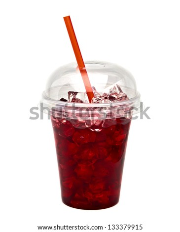 Cranberry juice with ice and straw on white background - stock photo