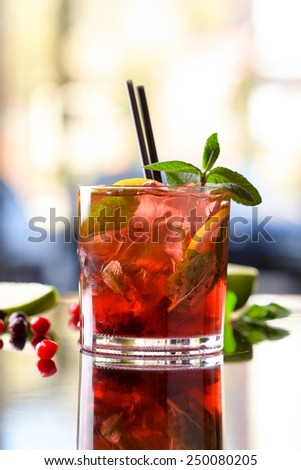 Cranberry mojito - stock photo