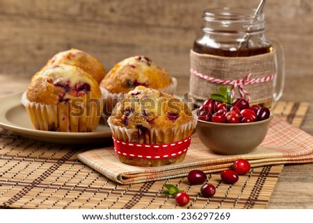 Cranberry Orange Muffins. Selective focus. - stock photo