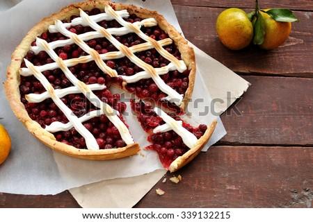 Cranberry pie with meringue - stock photo