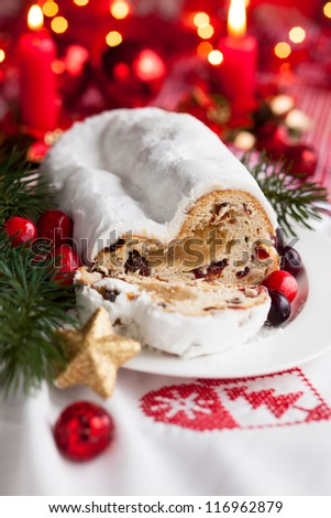 Cranberry stollen with marzipan for Christmas - stock photo