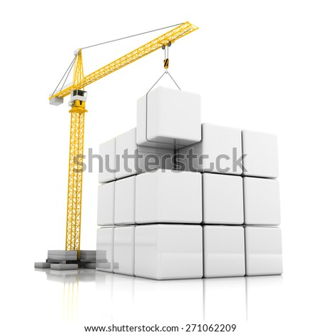 Crane and blank cubes with room for graphics, 3d render - stock photo
