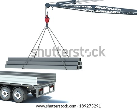 Crane and building material. truck - stock photo
