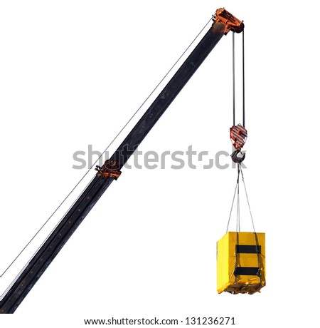 Crane and cargo. Element of building design. - stock photo