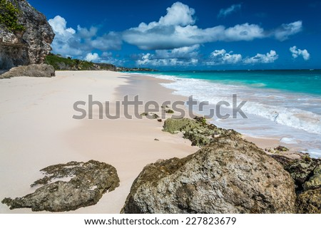 Crane Beach on the Atlantic east coast of the Caribbean island of Barbados in the West Indies. - stock photo