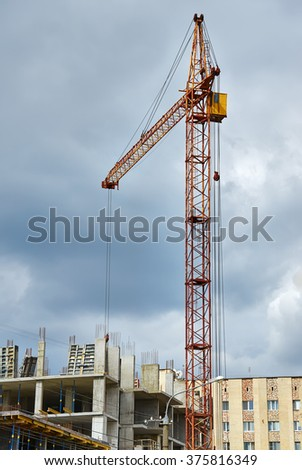 Crane building construction with blue sky background