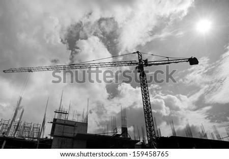 Crane construction - Black and white  - stock photo