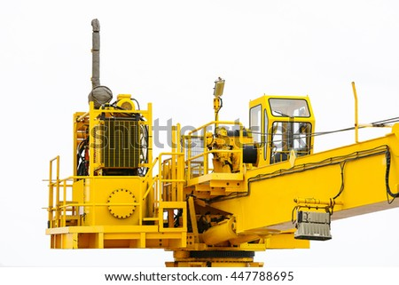 Crane construction on Oil and Rig platform for support heavy cargo, Transfer cargo or basket on work site, Heavy industry, heavy job on the oil and gas platform, Offshore operation on the platform. - stock photo