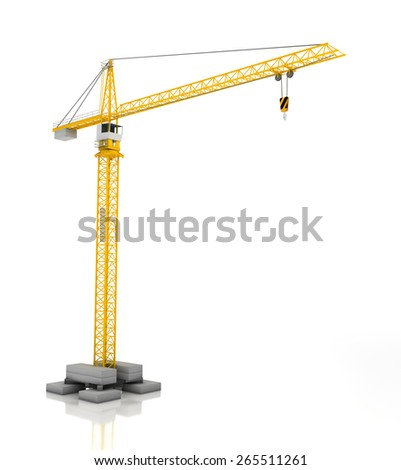 Crane, 3d render, isolated on white background - stock photo