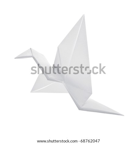 Crane from paper flies on white background - stock photo