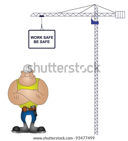Crane health and safety message isolated on white background - stock photo