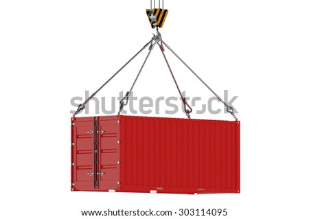 Crane hook and red cargo container  isolated on white background - stock photo