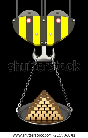 Crane hook, bowl with gold bars. isolated on black background. 3d illustration - stock photo