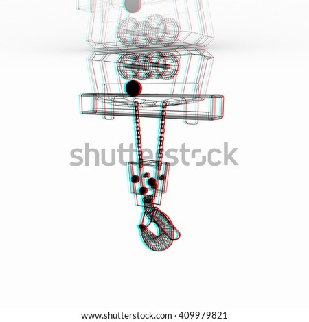 Crane hook. 3D illustration. Anaglyph. View with red/cyan glasses to see in 3D. - stock photo