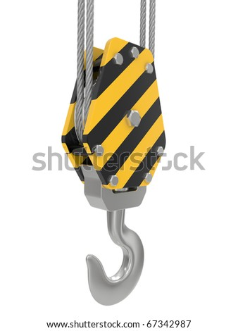 crane hook 3d render on a white background - stock photo