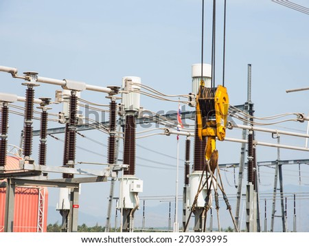 Crane hook in substation - stock photo