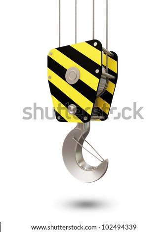 Crane Hook isolated on white background - stock photo