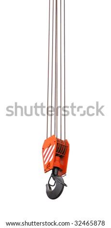 Crane hook isolated over white background - stock photo
