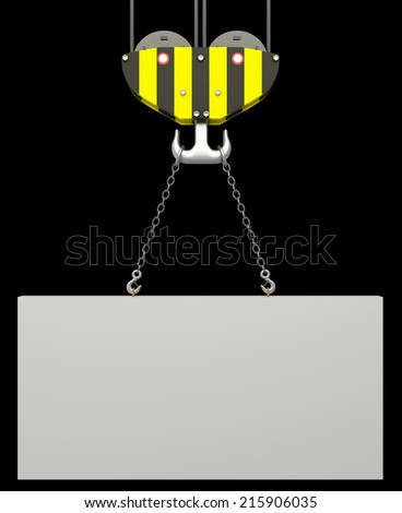 crane hook, lifting blank block. isolated on black background. 3d illustration - stock photo