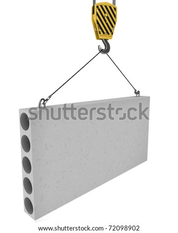 Crane hook lifts up concrete plate isolated on white background - stock photo