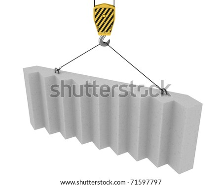 Crane hook lifts up concrete stairs isolated on white background - stock photo