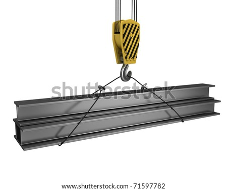 Crane hook lifts up few H girders isolated on white background - stock photo