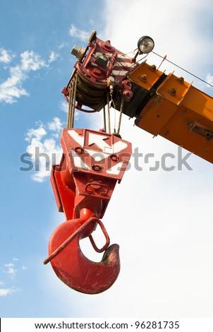 crane hook of cargo catching mechanism - stock photo