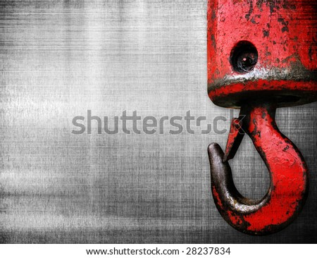 crane hook on metal plate - stock photo