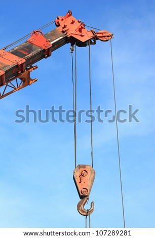 Crane Hook with blue sky - stock photo