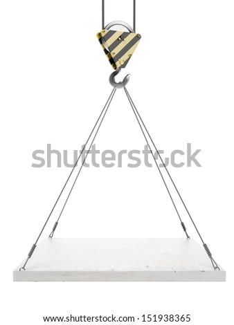 Crane hook with empty board - stock photo