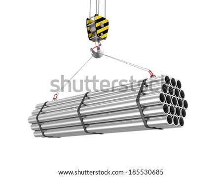 Crane Hook with Stack of Steel Metal Tubes isolated on white background - stock photo