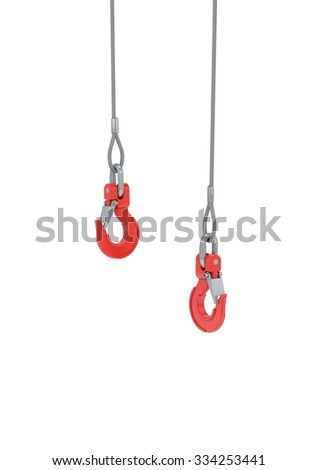 Crane hooks on steel cable isolated on white with clipping path - stock photo