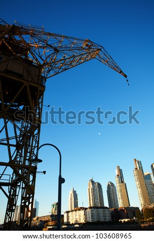 crane in Puerto Madero Buenos Aires Argentina - stock photo
