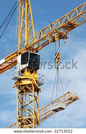 crane in the sky of brussels - stock photo