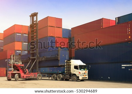 Crane lifter handling container box loading to depot, transportation import,export and logistic industrial concept