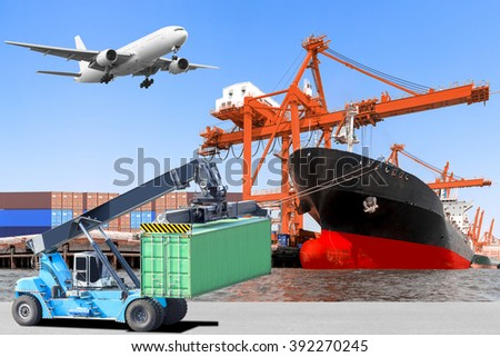 Crane lifts a container to commercial delivery cargo container truck and container ship being unloaded and air plane on the sky at the harbor