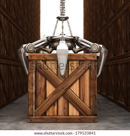 Crane mechanical hand on chain with a wooden box. High resolution 3D image  - stock photo